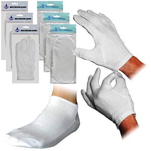 Face Therapy Lotion (3 Paar cremefarbene Feuchtigkeitssocken + 3 Paar feuchtigkeitsspendende, regenerierende Creme-Handschuhe.)