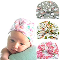 3 Packs Baby Headbands Baby Turban Headwraps Hats Turban Bun Knot Baby Infant Beanie Baby Girl Soft Cute Toddler Cap