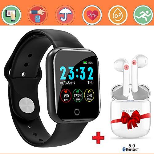 smartwatch offerta del giorno 1.3+cuffie bluetooth, smartwatch per donna uomo impermeabile ip67 fitness tracker attività con cardiofrequenzimetro pedometro notifiche per android ios -n