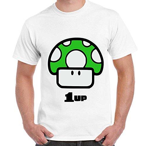 Maglietta Uomo T-Shirt Con Stampa Videogames Anni 90 Super Mario Funghetto 1 Up Imperdibili, Colore: Bianco, Taglia: L