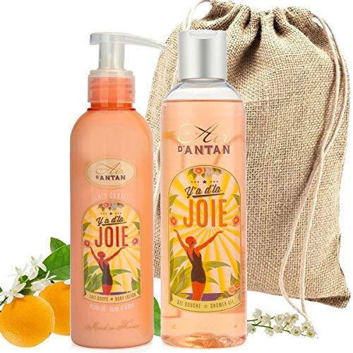 Französisches Beauty Pflege Geschenkset Joie – Parfum Orangenblüte, Maiglöckchen und Rosen. Enthält 1 Duschgel (250ml) und 1 Bodylotion (200ml) - Geschenk für Geburstag, Muttertag, Frauen