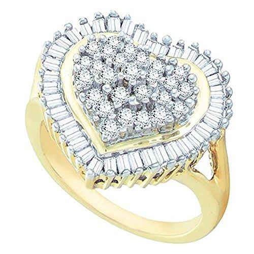 4-ring-diamant-herz 1 (Damen Ring / Verlobungsring 1.00 Karat 10 Karat Gelbgold Rund & Baguette Schnitt Weiß Diamant Herz 1 Karat)