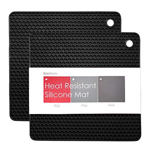 BasicForm Silikon hitzebeständiger Untersetzer, hitzebeständig, multifunktional, Wabenmuster(2 Stück) (Schwarz),MEHRWEG