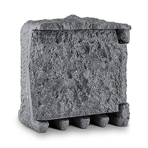 Waldbeck Digital Rock • Gartensteckdose • 2-fach Steckdosen-Verteiler • Polyresin Kunststein • Granitoptik • max. 3680 Watt Gesamtleistung • 3 m Kabellänge • Zeitschaltuhr • Countdown- / Zufallsfunktion • spritzwasser- und winterfest nach IP44 • grau