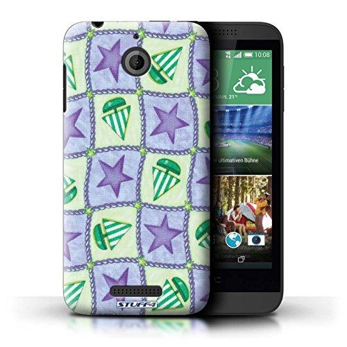 Kobalt® Imprimé Etui / Coque pour HTC Desire 510 / Rouge/Vert conception / Série Bateaux étoiles Pourpre/Vert