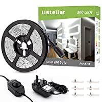 Ustellar Dimmable LED Strip Lights Kit, 5M Strip Lighting, 300 Units SMD 2835 LEDs, 12V LED Tape, Non-Waterproof Daylight White LED Ribbon with Adaptor Clips for TV Backlight Stairway Home Decoration