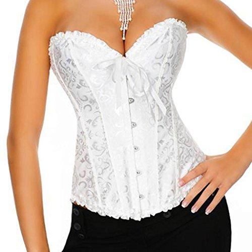 Damen Floral Spiral Stahl ohne Knochen Korsett Schlank Body Shaper Corset Weiß