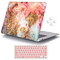 iCasso MacBook Air 13 inch Case (Release 2010-2017 Older Version), Plastic Pattern Hard Shell Protective Case & Keyboard Cover Only Compatible MacBook Air 13 Inch Model A1369/A1466 - Golden Marble