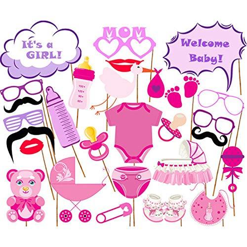 DMMASH 27 Stück Baby Shower Foto Requisiten, Baby Rosa Foto Stand Requisiten Neugeborenen Mädchen Geschenk Party Dekorationen