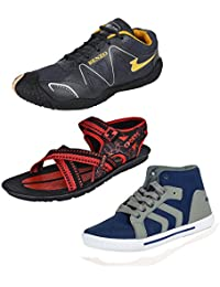 Bersache Men Combo Pack Of 3 Sports Shoes With Sandal & Casual Shoes