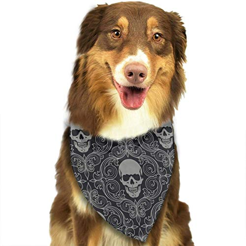Skull Pet Bandana Washable Reversible Triangle Bibs Scarf - Kerchief for Small/Medium/Large Dogs & Cats