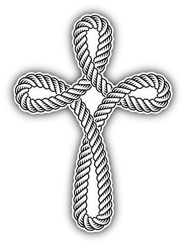 Christian Cross Rope Symbol Religion Art Decor Vinyl Sticker Aufkleber 10 x 12 cm