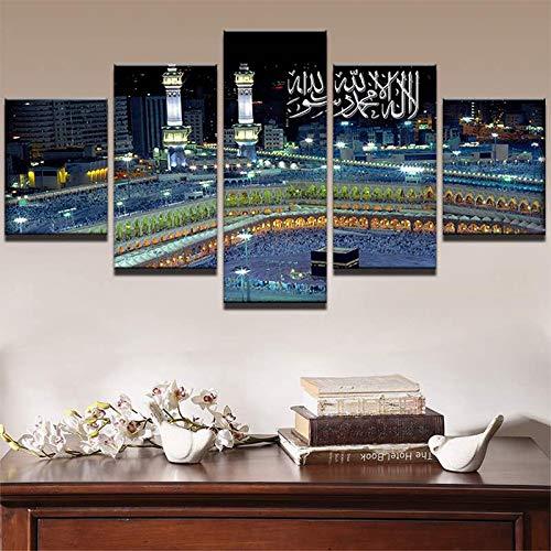 ZQDMYB Wandkunst Leinwand Malerei Rahmen Raum Wohnkultur 5 Stücke Islamische Moschee Burg Landschaft Bilder Allah Der Koran Poster PENGDA-, 30x40 30x60 30x80 cm