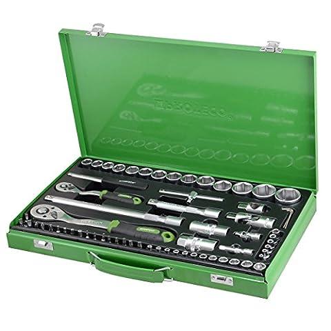 Proteco-Werkzeug® Profi-Steckschlüsselsatz Steckschlüsselkasten 1/4 und 1/2 Zoll 65 Teile Ratschenkasten Knarrenkasten