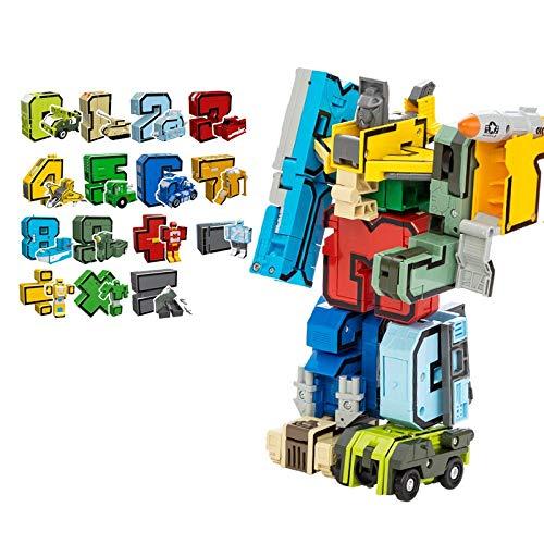 QUOXO Jouet de Robot de Nombre de Transformation, Blocs éducatifs Robot de déformation de Figure d'action pour des Enfants (15pcs)
