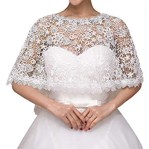 Coprispalle nuziale scialle coprispalle sposa bolero giacche estate avorio bianco scialle da sposa abiti da sposa e damigella d'onore coprispalle in pizzo per la festa nuziale per abito da sposa