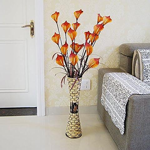GWZ,Simulazione di piano continentale soggiorno finito composizione floreale fiore di bouquet floreali di fiori finti Calla fiore di seta di plastica fiori artificiali , B LINXIANBISHUIYIYUAN