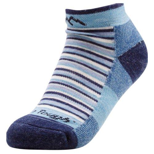 Darn Tough Vermont Damen Merino Wolle No-Show Kissen Wandern Socken, damen, blau gestreift (Merino No-show Wolle Socken)