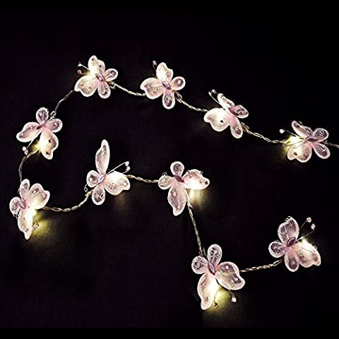 Pair of - Battery Operated Beautiful LED Pink Faux Silk Butterfly Fairy String Lights - Tenda Acrilica