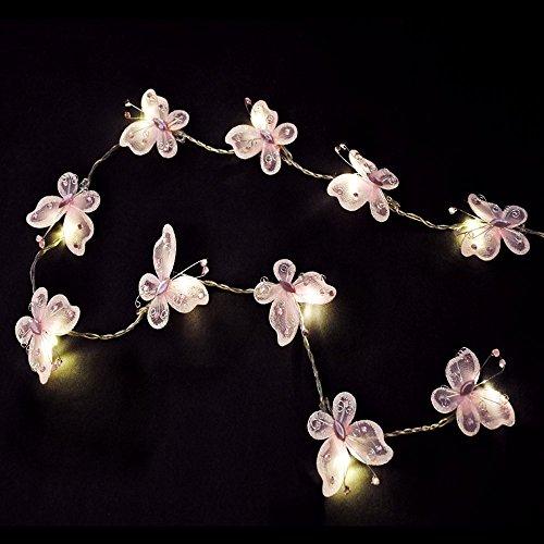 Set di 2 - Catena a LED operata a batteria con paralumi belli e rosa nella forma di farfalle fatte di seta finta