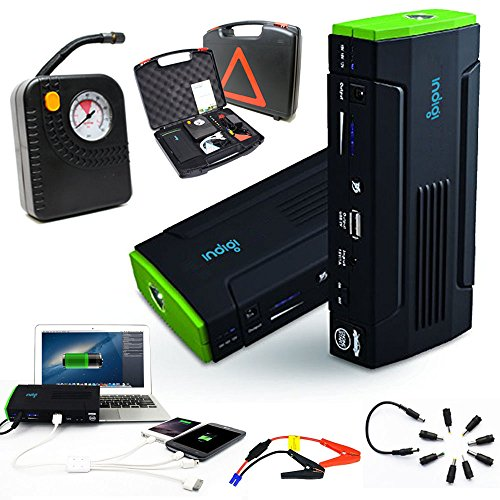 Indigi® KFZ Jump Starter Power Bank flach Tire Pumpe Tire Air Kompressoren & inflators Flash Light Handy Tablet Laptop Notfall Backup Power Source Jump Starter Inflator