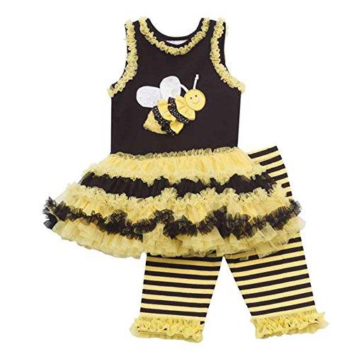 Rare Editions Baby Mädchen Tunika Tutu Kleid + Leggings Hose gelb schwarz Biene (62) (Baby Kleider Rare Editions)
