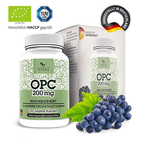 OPC Traubenkernextrakt hochdosiert 180 Kapseln von Vita 1 Laborgeprüfte Premium Qualität aus Original Französischen Trauben, 100% Vegan, Glutenfrei, 200mg Traubenextrakt, Made in Germany