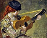 Girl with a Guitar, 1897 - Fine Art Print on Fine Art Canvas - PRINT ON Canvas ONLY -NO FRAME - Image size is 14 x 11 inches Inch