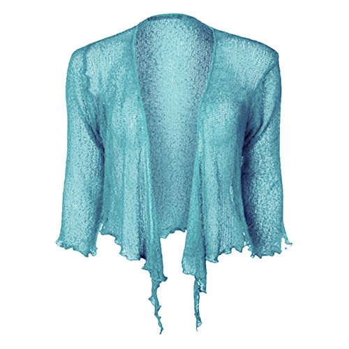 53482ff453e7 Joe Ladies Women Girls Tie Up Kimono Sleeve Cardigan Shrug Top (Sky Blue)