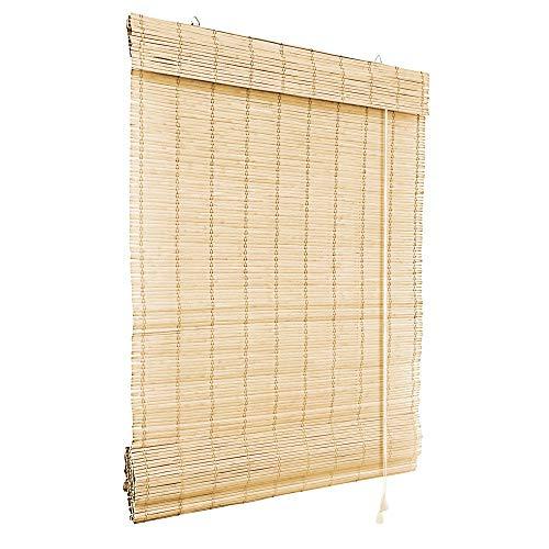 Victoria M. Bambus Raffrollo 80 x 160 cm in Natur, Sichtschutz Rollo für Fenster und Türen