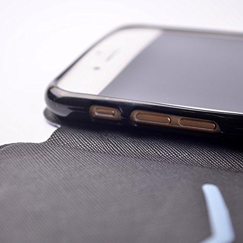 Cover Apple iphone 7 Plus Caso Copertura di Stile Libro Morbido Pelle in Poliuretano Silicone Flessibile Slot Flip Slittamento Magnetico Protettivo Antiurto Custodia Tascabile Custodia in Silicone Mor Piuma
