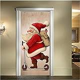 Yirenfeng Portes De Noël Vitraux Du Père Noël Portes En Bois Rénovation Stickers Muraux
