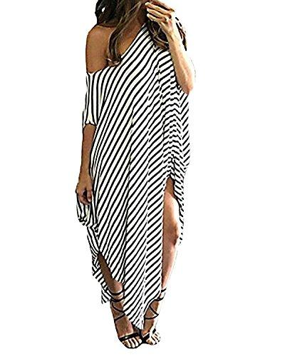 Kidsform Damen EIN Schulter Kleid Sommer Strandkleid Langes Streifen Maxikleid Streifen EU 40-42/Etikettgröße M - Sommer Den Kleid Lang Für
