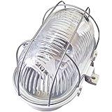 Tibelec 338310 Hublot Ovale avec Grille Métal/Plastique 60 W E14 Blanc 170 X 95 X 90 mm