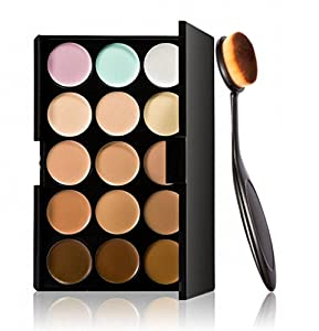 Voberry® Cosmetic Makeup Blusher Toothbrush Curve Foundation 15 Colors Concealer with 1 pcs Make Up Brush
