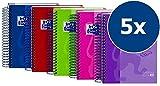 OXFORD Schule European Book Touch A6 kariert 90 g/m² Paier 5er Pack mit 5 Farben mit Hardcover und steigender Spirale Schreibblock Notizblock Briefblock Collegeblock Schulblock