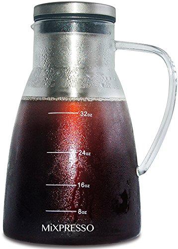 Kalten Brew Kaffeemaschine luftdicht Iced Kaffeemaschine und Tee-Ei Glas Karaffe mit abnehmbare edelstahl-Filter für kalte und heiße, indem mixpresso-1.0l/34oz 7 Cup French Press
