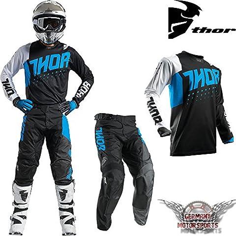Motocross Combo Jersey Pantalon pour homme Noir bleu Thor Pulse Offroad Cross, Quad, ATV MX SX