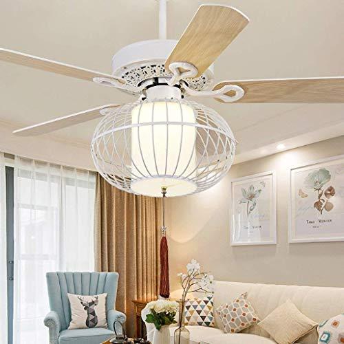 ChuanHan Plafoniere del Ventilatore del Ventilatore di Soffitto 42 Nuova Lanterna di Legno Classica della Foglia LED della Lanterna del Ventilatore da 50 Pollici della Nuova Camera da Letto LED E27