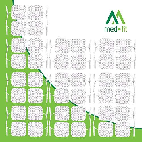 Med-Fit Tens pads 40 electrodos 10 paquetes de la más alta calidad extra duraderos, autoadhesivos para decenas, tamaño 5cm x 5cm 2 x 2. tabla de colocación de electrodos para la ayuda GRATIS de Medfit