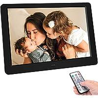 Cornice foto digitale Tenswall da 10 pollici aggiornato 1280x800 ad alta risoluzione, pieno IPS Display IPS Photo/Music/Video, calendario del lettore, allarme, supporto USB e scheda SD, telecomando