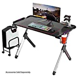 EUREKA ERGONOMIC R1-S Gaming Desk - Bureau pour ordinateur de jeu, table de jeu PC, bureau Gamers avec lumières RGB, bureau à texture en fibre de carbone, porte-gobelet et crochet pour casque