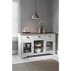 Mueble aparador de pino oscuro y armario blanco Canterbury, con cristal, Noa y Nani