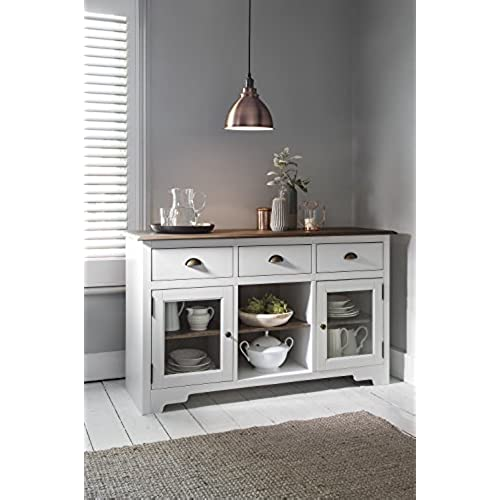 Sideboard Dark Pine And White Canterbury Side Cabinet With Glass Noa U0026 Nani