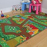 The Rug House Kinder-Spielteppich Bauernhof Tiere Traktor Matte Spielteppich Spaß 100cm x 165cm (3ft 3