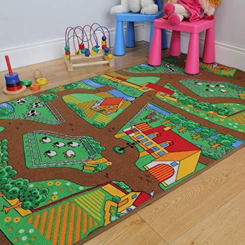 """The Rug House Kinder-Spielteppich Bauernhof Tiere Traktor Matte Spielteppich Spaß 100cm x 165cm (3ft 3"""" x 5ft 5"""")"""