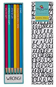 Happy Jackson Set of Six Cheerful Pencils and Eraser by Wild & Wolf