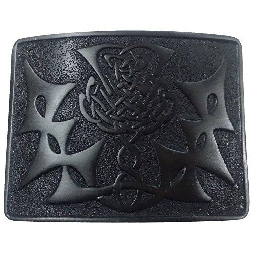 G M Belts Boucle Ceinture Motif Celtique Chardon Noir Chrome