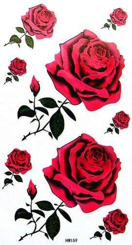 Roses rouges autocollant de tatouage sexy étanche pour filles