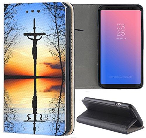 Huawei P10 Lite Hülle Premium Smart Einseitig Flipcover Hülle P10 Lite Flip Case Handyhülle Huawei P10 Lite Motiv (729 Jesus Christus Kreuz im See Kirche Blau Gelb)